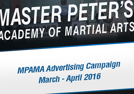 Advertisement for Master Peter's Academy of Martial Arts for the months of March and April, 2016.