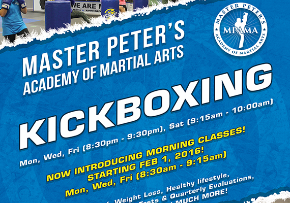 Advertisement for Master Peter's Academy of Martial Arts for the months of January and February, 2016.